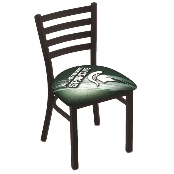 Holland Bar Stool L00418MichSt-D2 Black Steel Michigan State University Chair with Ladder Back and Padded Seat Main Image 1