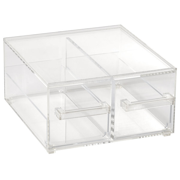 Vollrath Sbb23 Cubic 2 3 Size Two Drawer Acrylic Bread Box With Reusable Chalkboard Labels And Chalk