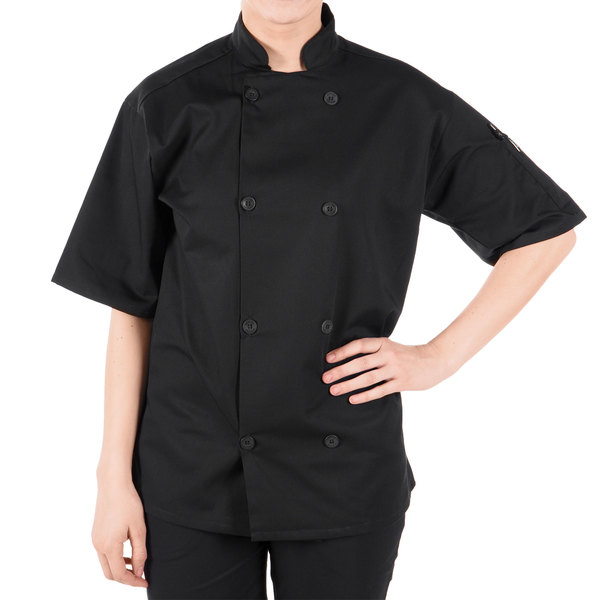 "Mercer Culinary M60013BKL Millennia Unisex 44"" L Customizable Black Double Breasted Short Sleeve Cook Jacket with Traditional Buttons"
