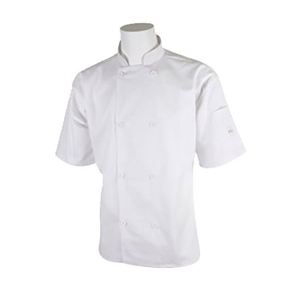 "Mercer Culinary M60013WH1X Millennia Unisex 48"" 1X Customizable White Double Breasted Short Sleeve Cook Jacket with Traditional Buttons"