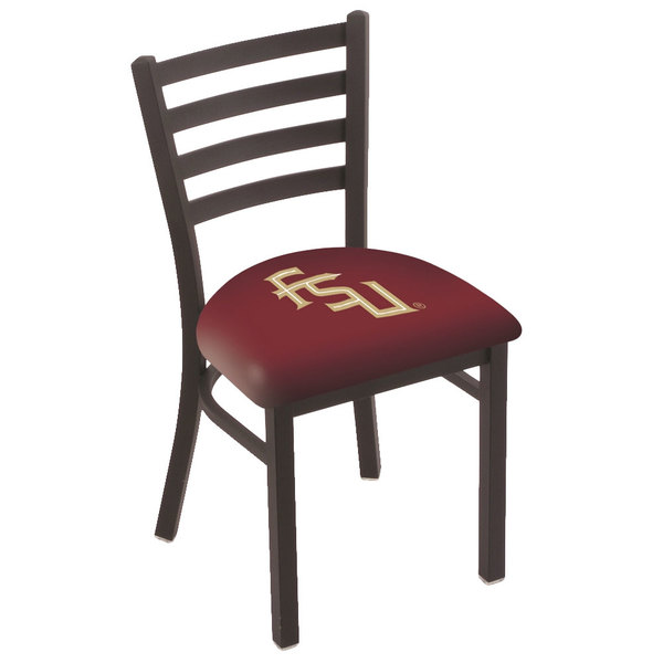 Holland Bar Stool L00418FSU-FS Black Steel Florida State University Chair with Ladder Back and Padded Seat Main Image 1