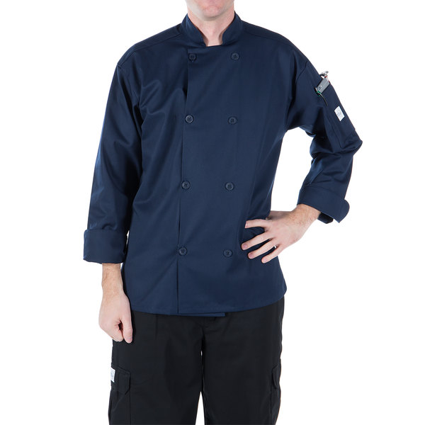"""Mercer Culinary M60010NB5X Millennia Unisex 64"""" 5X Customizable Navy Double Breasted Long Sleeve Cook Jacket with Traditional Buttons"""