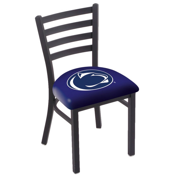 Holland Bar Stool L00418PennSt Black Steel Penn State University Chair with Ladder Back and Padded Seat