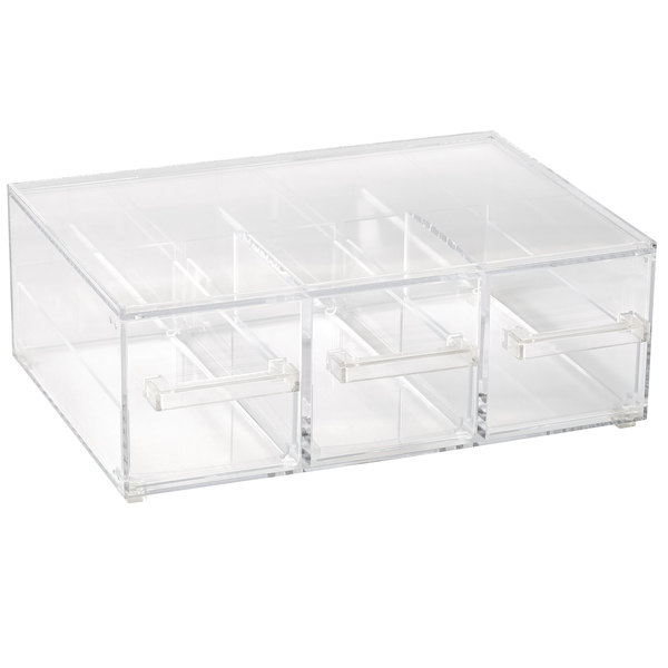 Vollrath Sbb33 Cubic Full Size Three Drawer Acrylic Bread Box With Reusable Chalkboard Labels And Chalk