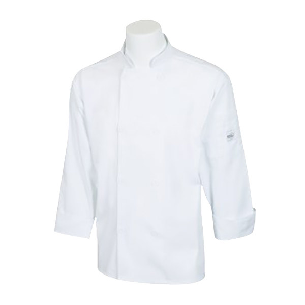 """Mercer Culinary M60010WH1X Millennia Unisex 48"""" 1X Customizable White Double Breasted Long Sleeve Cook Jacket with Traditional Buttons"""