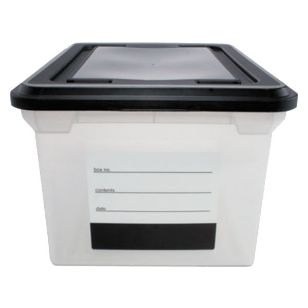 Innovative Storage Designs 55802 Clear Plastic Letter / Legal File Tote with Black Lid and Contents Label
