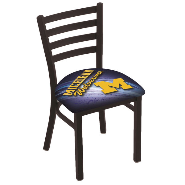 Holland Bar Stool L00418MichUn-D2 Black Steel University of Michigan Chair with Ladder Back and Padded Seat