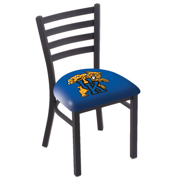 Holland Bar Stool L00418UKYCat Black Steel University of Kentucky Chair with Ladder Back and Padded Seat Main Image 1