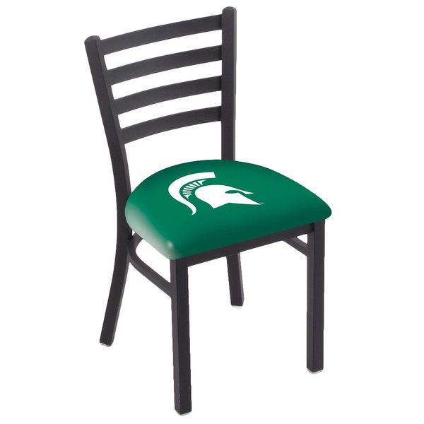 Holland Bar Stool L00418MichSt Black Steel Michigan State University Chair with Ladder Back and Padded Seat