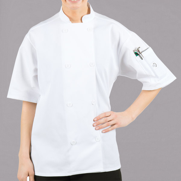 Mercer Culinary Millennia Air® M60019 Unisex Lightweight White Customizable Short Sleeve Cook Jacket with Full Mesh Back - S Main Image 1