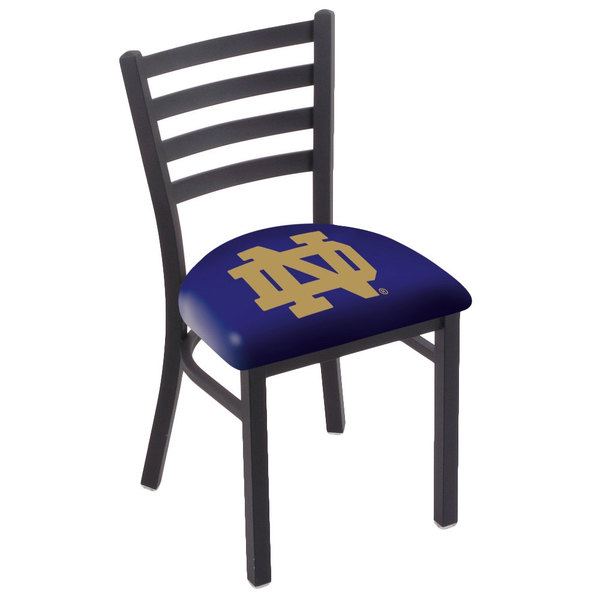 Holland Bar Stool L00418ND-ND Black Steel University of Notre Dame Chair with Ladder Back and Padded Seat