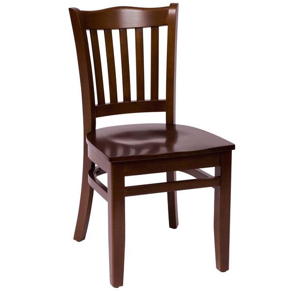BFM Seating LWC7218WAWAW Princeton Walnut Beechwood School House Side Chair