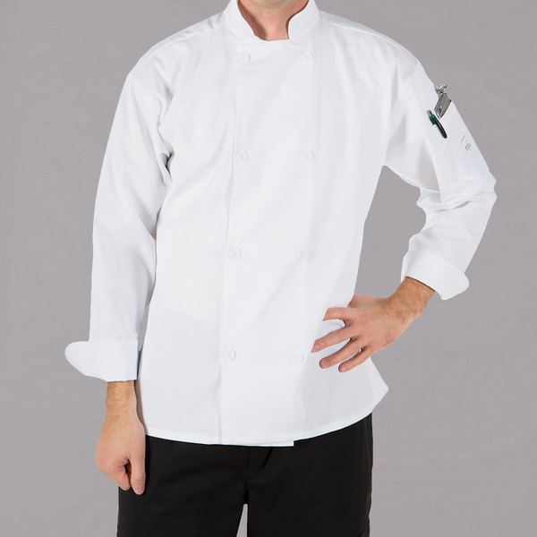 """Mercer Culinary M60010WHXS Millennia Unisex 32"""" XS Customizable White Double Breasted Long Sleeve Cook Jacket with Traditional Buttons"""