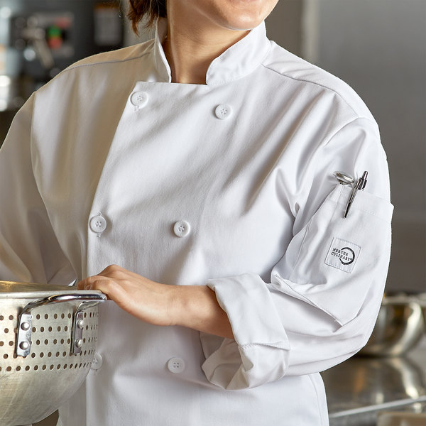 """Mercer Culinary Millennia Unisex 32"""" XS Customizable White Double Breasted Long Sleeve Cook Jacket with Traditional Buttons"""