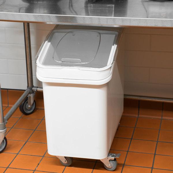 Baker's Mark 27 Gallon / 430 Cup White Slant Top Mobile Ingredient Storage Bin with Sliding Lid & Scoop Main Image 3