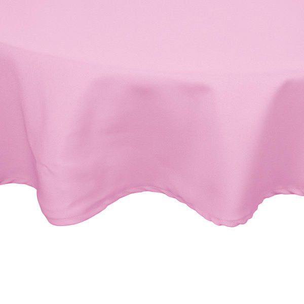 72 inch Round Pink 100% Polyester Hemmed Cloth Table Cover