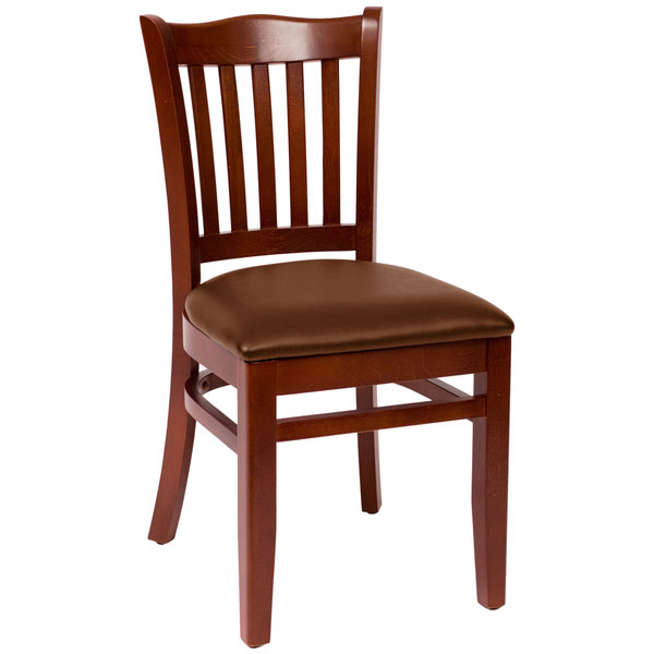 "BFM Seating LWC7218MHLBV Princeton Mahogany Beechwood School House Side Chair with 2"" Brown Vinyl Seat Main Image 1"