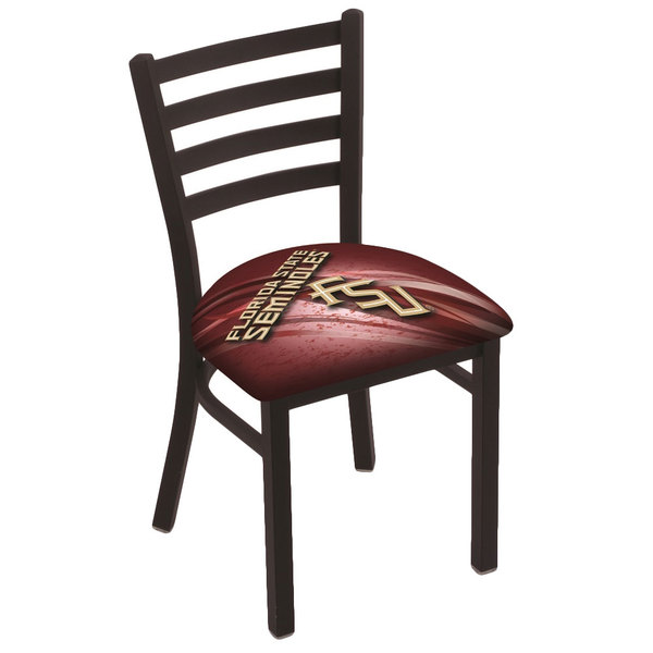 Holland Bar Stool L00418FSU-FS-D2 Black Steel Florida State University Chair with Ladder Back and Padded Seat Main Image 1
