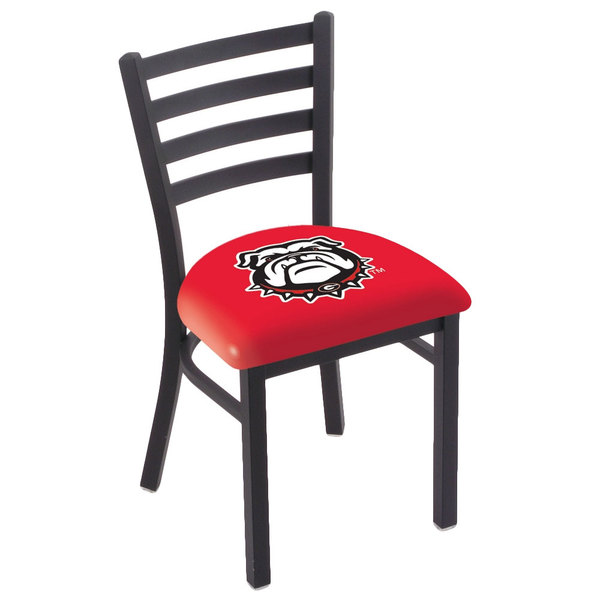 Holland Bar Stool L00418GA-Dog Black Steel University of Georgia Chair with Ladder Back and Padded Seat
