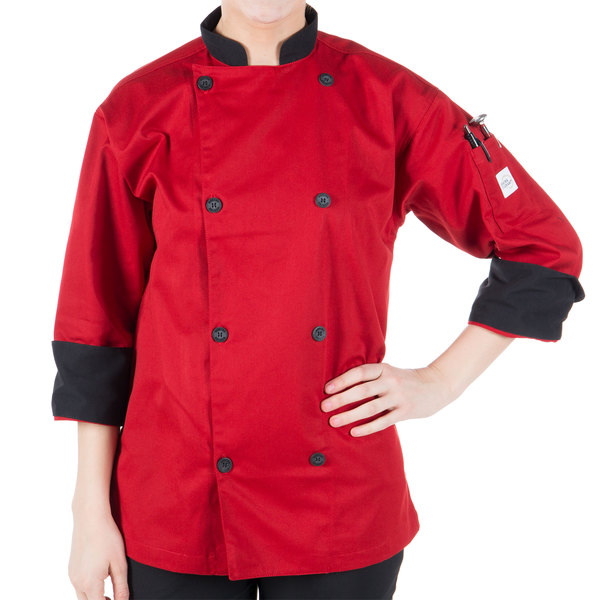 "Mercer Culinary Millennia Unisex 64"" 5X Customizable Red Double Breasted 3/4 Length Sleeve Cook Jacket with Traditional Buttons"
