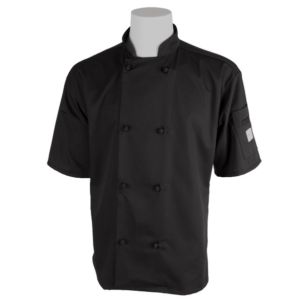 "Mercer Culinary M60014BK3X Millennia Unisex 56"" 3X Customizable Black Double Breasted Short Sleeve Cook Jacket with Cloth Knot Buttons"