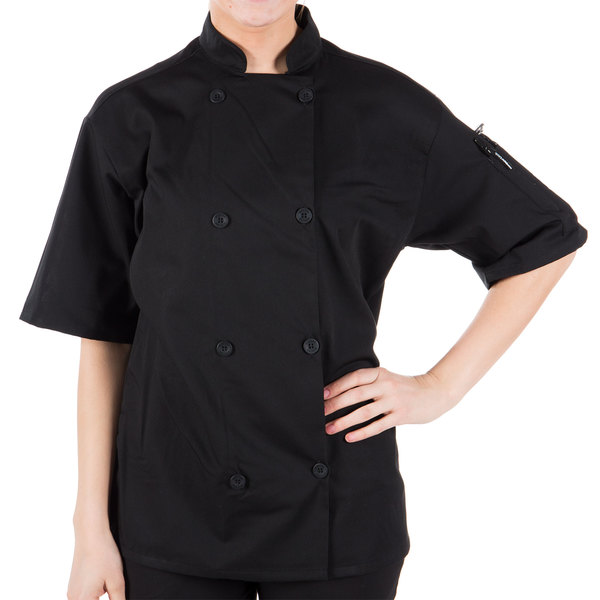 "Mercer Culinary Millennia Air Unisex 48"" 1X Customizable Black Double Breasted Short Sleeve Cook Jacket with Traditional Buttons with Full Mesh Back"