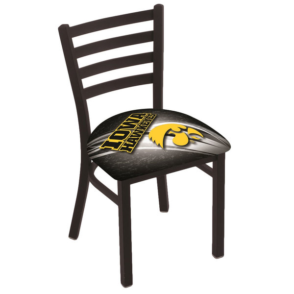 Holland Bar Stool L00418IowaUn-D2 Black Steel University of Iowa Chair with Ladder Back and Padded Seat