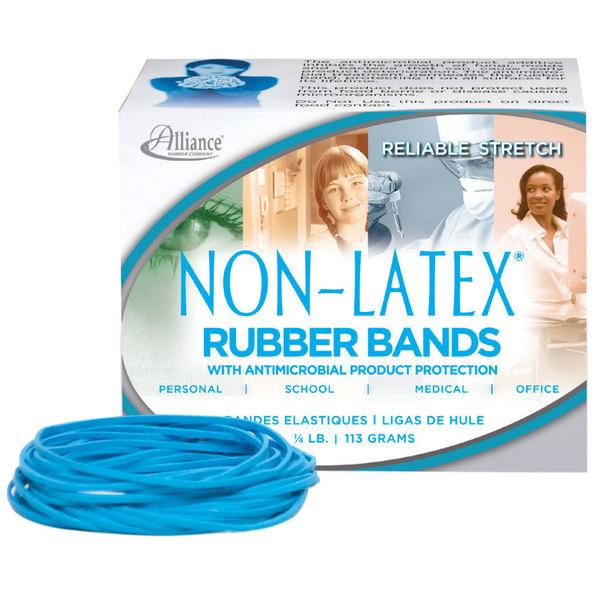 "Alliance 42339 3 1/2"" x 1/8"" Non-Latex Antimicrobial Blue #33 Rubber Band, 1/4 lb. - 180/Box"