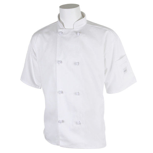 """Mercer Culinary M60014WH4X Millennia Unisex 60"""" 4X Customizable White Double Breasted Short Sleeve Cook Jacket with Cloth Knot Buttons"""