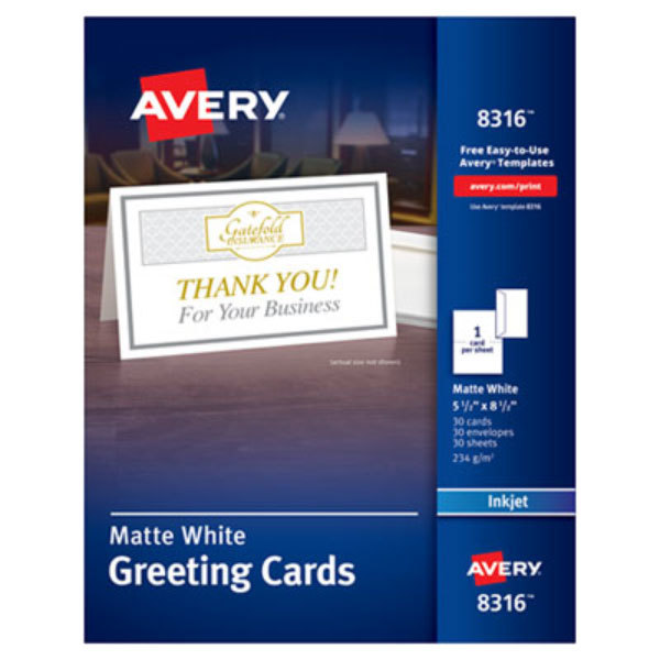 """Avery 8316 5 1/2"""" x 8 1/2"""" Matte White 85# Half-Fold Ink Jet Greeting Card with Envelope - 30/Box"""