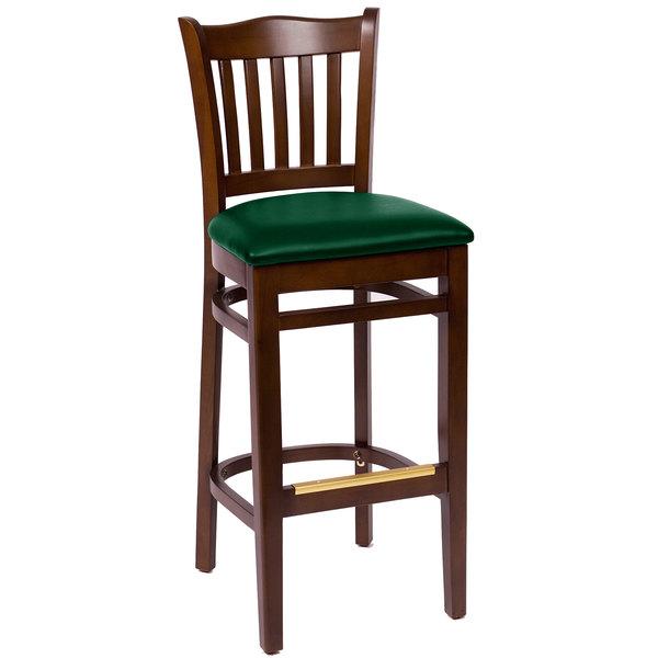 "BFM Seating LWB7218WAGNV Princeton Walnut Beechwood School House Bar Height Chair with 2"" Green Vinyl Seat"
