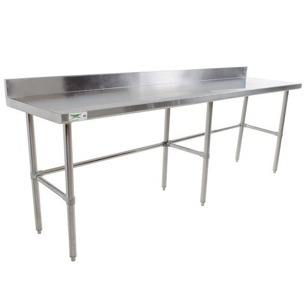 "Regency 30"" x 84"" 16-Gauge 304 Stainless Steel Commercial Open Base Work Table with 4"" Backsplash Main Image 1"