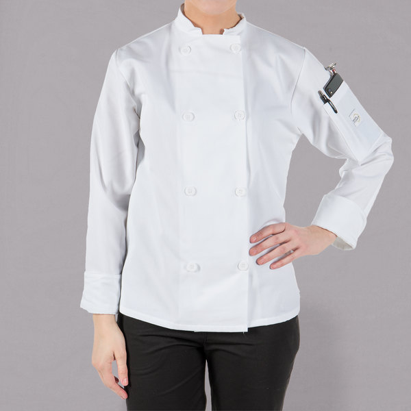"""Mercer Culinary M60020WHXS Millennia Women's 32"""" XS Customizable White Double Breasted Long Sleeve Cook Jacket with Traditional Buttons"""