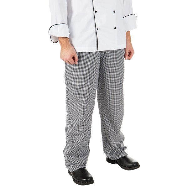 """Mercer Culinary M60030HT1X Millennia Unisex 40"""" 1X Hounds Tooth Poly-Cotton Cook Pants"""