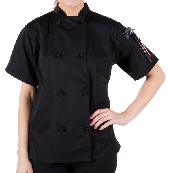 """Mercer Culinary M60024BK1X Millennia Women's 41"""" 1X Customizable Black Double Breasted Short Sleeve Cook Jacket with Cloth Knot Buttons"""