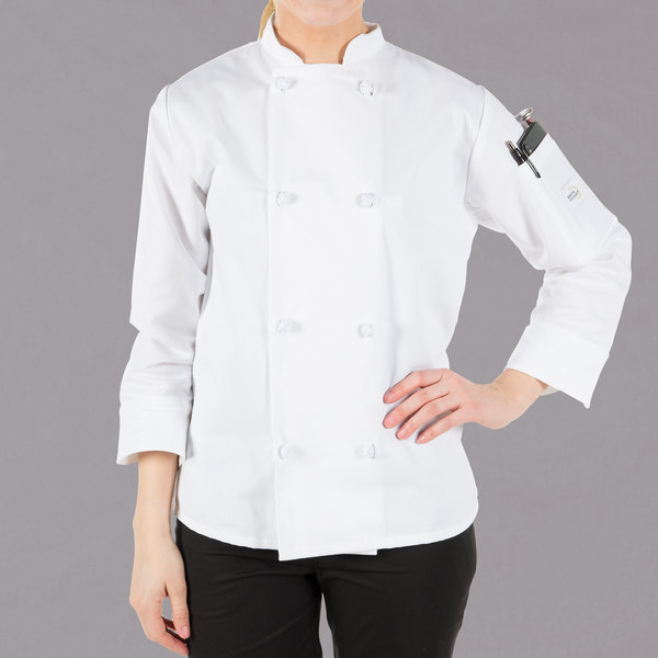 """Mercer Culinary Millennia Women's 49"""" 3X Customizable White Double Breasted Long Sleeve Cook Jacket with Cloth Knot Buttons"""