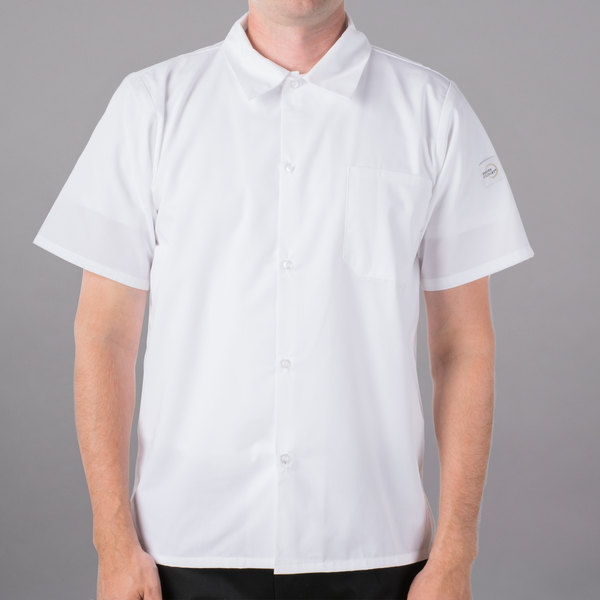 """Mercer Culinary M60200WH6X Millennia Air Unisex 68"""" 6X Customizable White Short Sleeve Cook Shirt with Traditional Buttons and Full Mesh Back"""