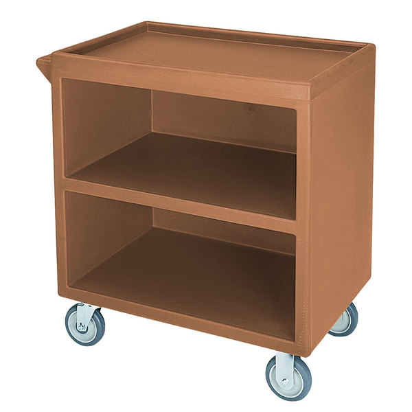 "Cambro BC3304S157 Coffee Beige Three Shelf Service Cart with Three Enclosed Sides - 33 1/8"" x 20"" x 34 5/8"""