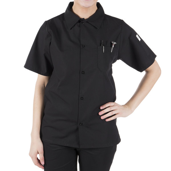 """Mercer Culinary Millennia Air Unisex 52"""" 2X Customizable Black Short Sleeve Cook Shirt with Traditional Buttons and Full Mesh Back"""