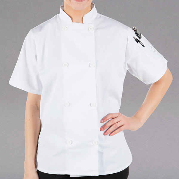 """Mercer Culinary M60023WHM Millennia Women's 36"""" M Customizable White Double Breasted Short Sleeve Cook Jacket with Traditional Buttons"""