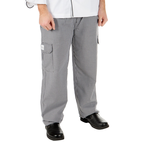 """Mercer Culinary M61051HTL Genesis Unisex 36"""" L Hounds Tooth Poly-Cotton Cargo Pants"""