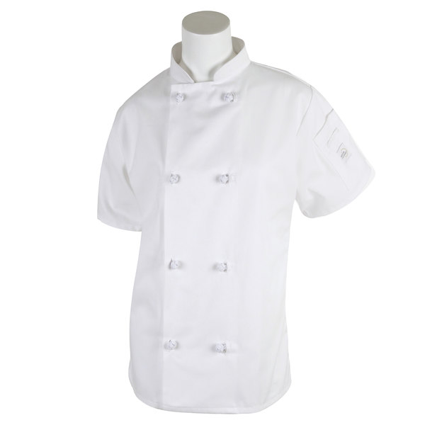 """Mercer Culinary M60024WHXXS Millennia Women's 31"""" XXS Customizable White Double Breasted Short Sleeve Cook Jacket with Cloth Knot Buttons"""