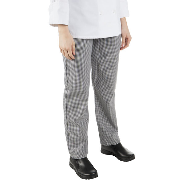 """Mercer Culinary M60040HT2X Millennia Women's 35"""" 2X Hounds Tooth Poly-Cotton Cook Pants"""