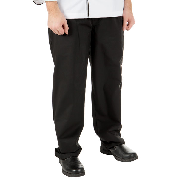 "Mercer Culinary M60050BK1X Millennia Unisex 40"" 1X Black Poly-Cotton Cook Pants"
