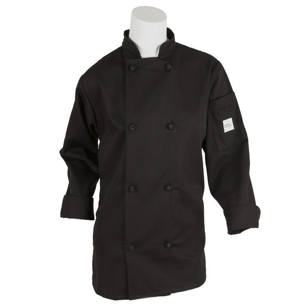 "Mercer M60022BKXS Millennia Women's 32"" XS Customizable Black Double Breasted Long Sleeve Cook Jacket with Cloth Knot Buttons"
