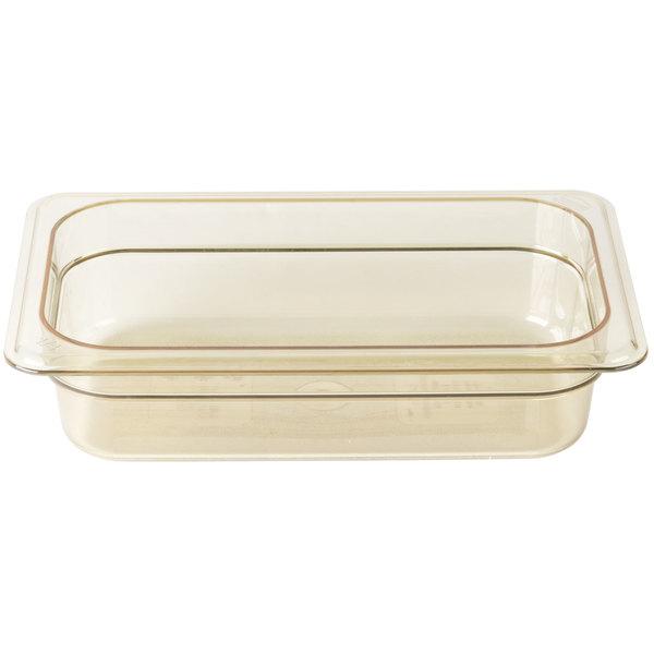 Cambro 42HP150 H-Pan 1/4 Size Amber High Heat Food Pan - 2 1/2 inch Deep