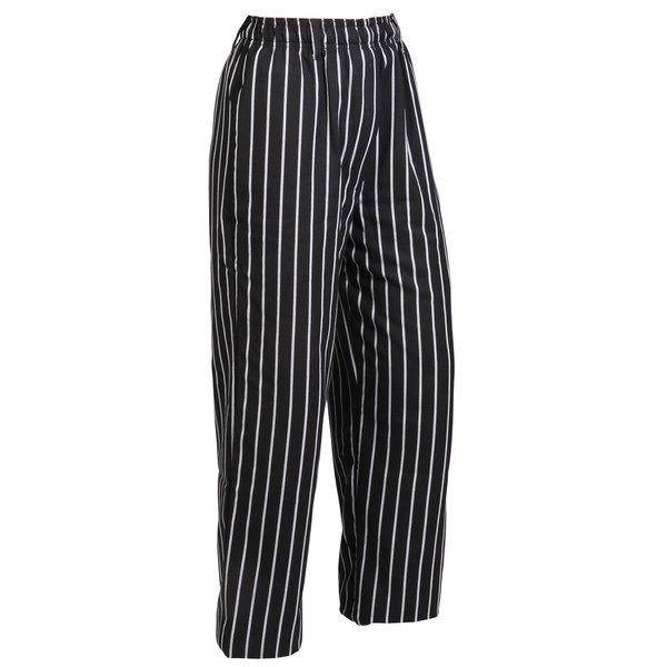 "Mercer Culinary M60030BCSXS Millennia Unisex 24"" XS Black Chalk Stripe Poly-Cotton Cook Pants"