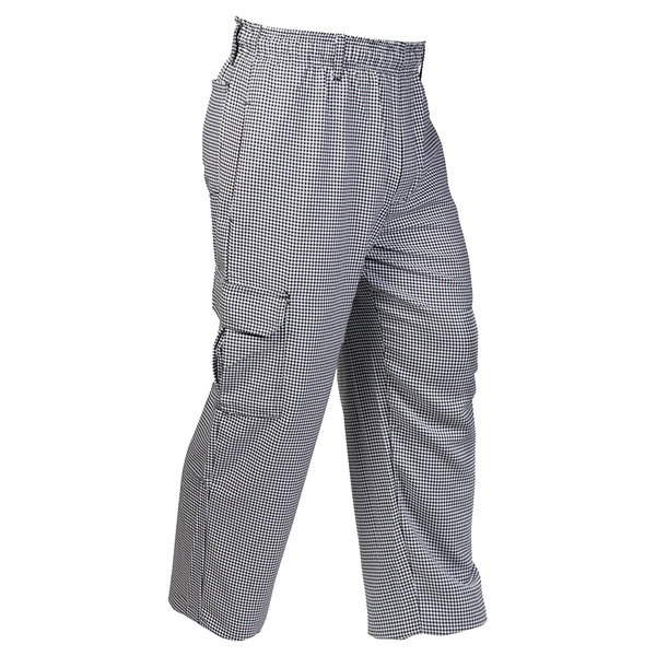 """Mercer Culinary M61051HT1X Genesis Unisex 40"""" 1X Hounds Tooth Poly-Cotton Cargo Pants"""
