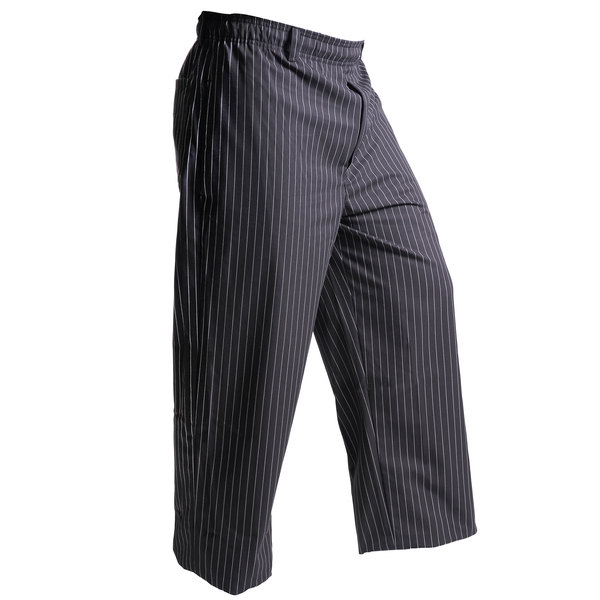 "Mercer Culinary M60030BFPXS Millennia Unisex 24"" XS Black Fine Pinstripe Poly-Cotton Cook Pants"