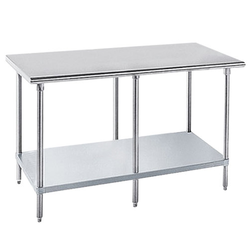 """Advance Tabco GLG-368 36"""" x 96"""" 14 Gauge Stainless Steel Work Table with Galvanized Undershelf"""